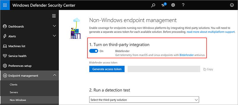 Non-Windows endpoint management window